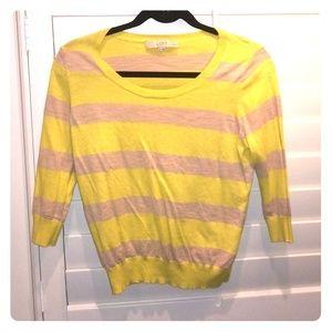 Loft 3/4 sleeve strip sweater, lime &beige